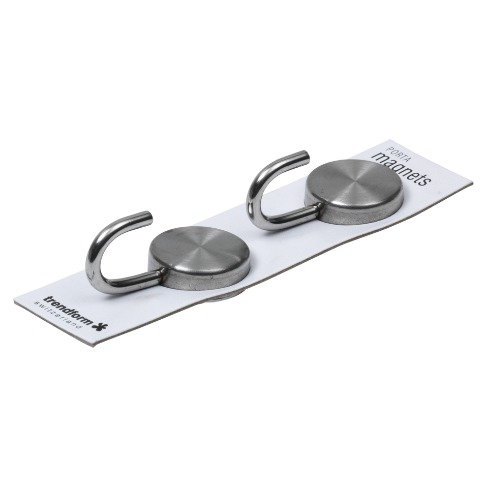 Brushed Stainless Steel Magnetic Hooks Set Of 2 Magnetic
